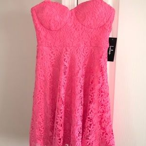 Hot Pink Lace Skater Dress